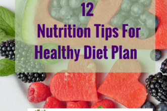 Fruits with the text 12 Nutrition Tips For Healthy Diet Plan