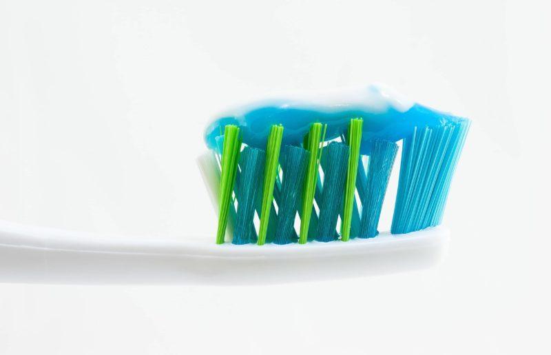 Toothpaste on teeth